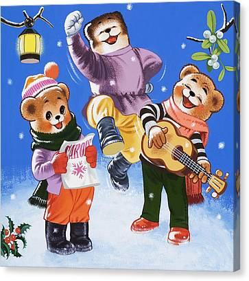 Teddy Bears Singing Carols Canvas Print by William Francis Phillipps
