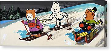 Teddy Bears Skiing Canvas Print