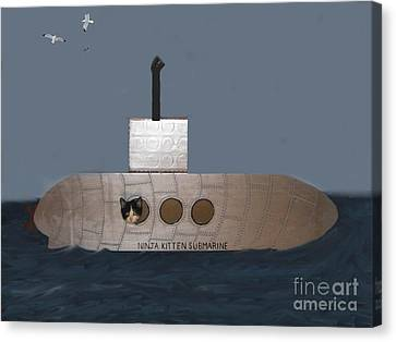 Teddy In Submarine Canvas Print by Reb Frost