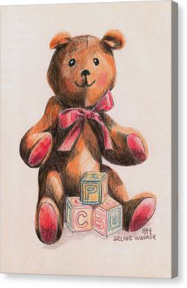 Teddy With Blocks Canvas Print by Arline Wagner