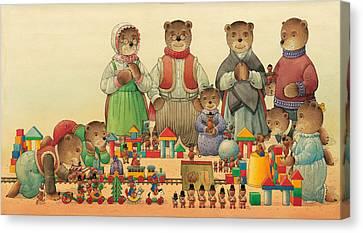 Teddybears And Bears Christmas Canvas Print by Kestutis Kasparavicius