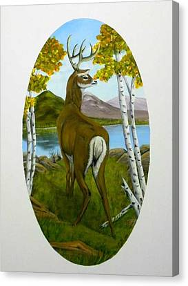 Canvas Print featuring the painting Teddy's Deer by Sheri Keith