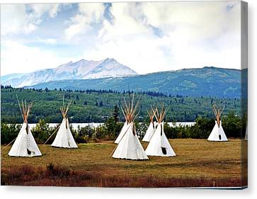 Tee Pee At Glacier Canvas Print