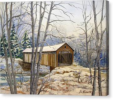 Teegarden Covered Bridge In Winter Canvas Print by Lois Mountz