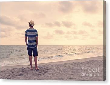 Teen Boy On Beach Canvas Print by Edward Fielding