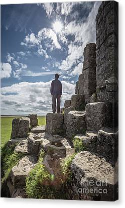 Canvas Print featuring the photograph Teen Boy Standing On Basalt Rocks by Edward Fielding