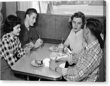 Teen Couples At A Diner, C.1950s Canvas Print