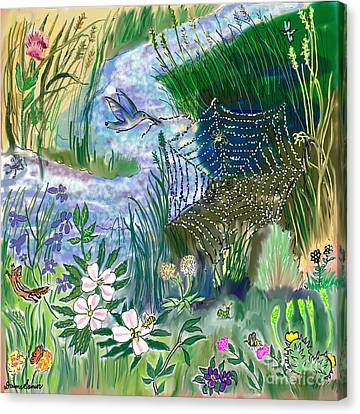 Teen Drawing -- Hummingbird Collecting Silk Canvas Print by Dawn Senior-Trask