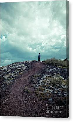 Canvas Print featuring the photograph Teenager On A Hiking Trail In Iceland by Edward Fielding