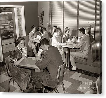 Teens At A Diner, C. 1950s Canvas Print