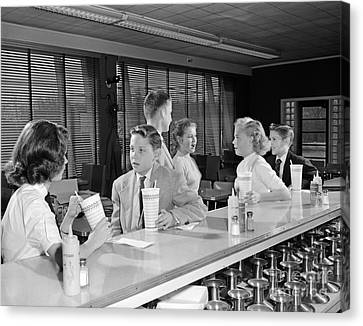 Teens At Soda Fountain, C.1950s Canvas Print by H. Armstrong Roberts/ClassicStock