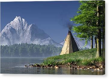 Teepee By A Lake Canvas Print