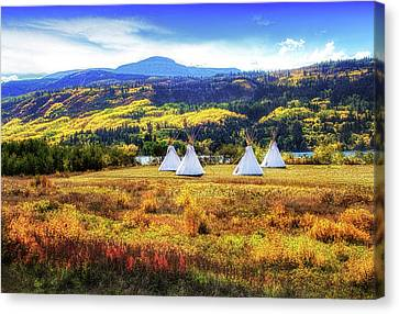 Teepees By Lower Saint Mary Lake Canvas Print by Carolyn Derstine