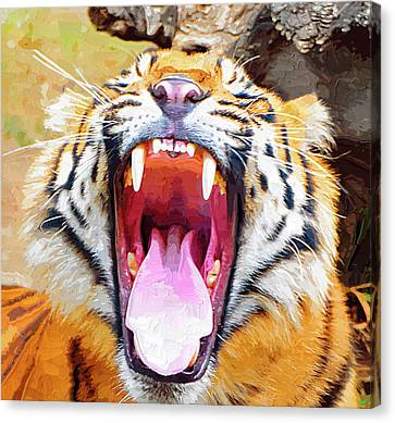 Growling Canvas Print - Teeth And Tongue by Clarence Alford