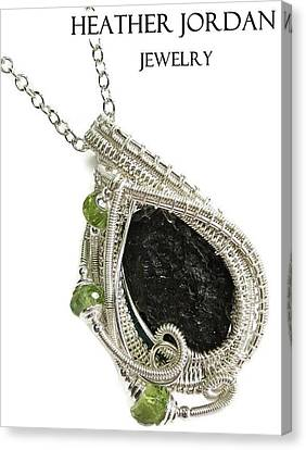 Tektite Meteorite Impactite Pendant In Sterling Silver With Peridot Tktss6 Canvas Print by Heather Jordan