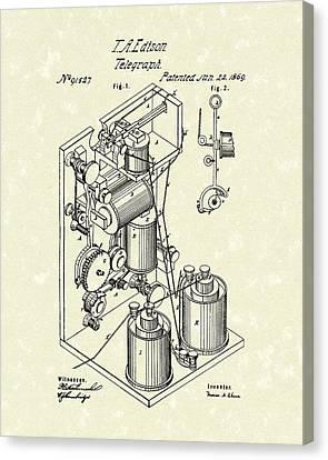 Edison Canvas Print - Telegraph 1869 Patent Art by Prior Art Design