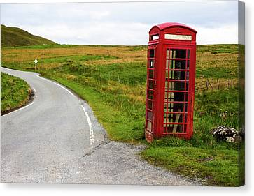 Canvas Print featuring the photograph Telephone Booth On Isle Of Skye by Davorin Mance