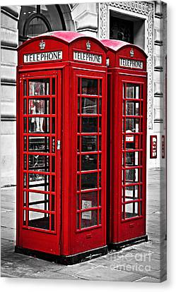 Telephone Boxes In London Canvas Print by Elena Elisseeva