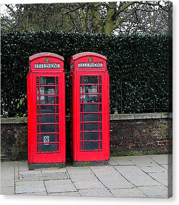 Telephone Boxes In London Canvas Print by Peg Owens