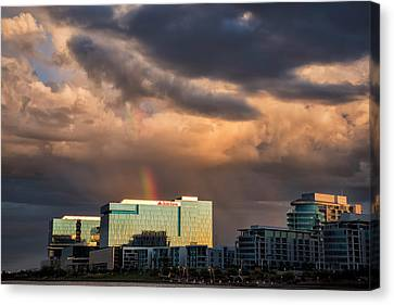 Canvas Print featuring the photograph Tempe Town Lake Rainbow by Dave Dilli