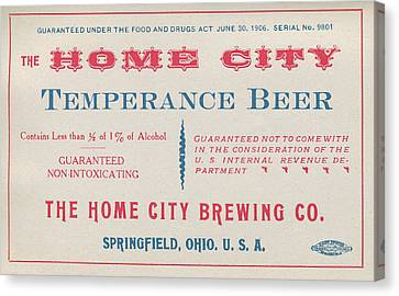 Temperance Beer Label Canvas Print by Tom Mc Nemar