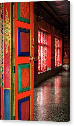 Canvas Print featuring the photograph Temple Door by Alexey Stiop