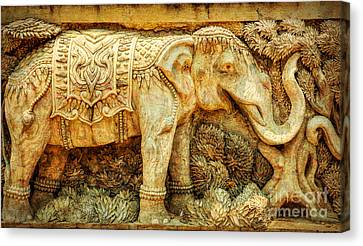 Temple Elephant Canvas Print by Adrian Evans