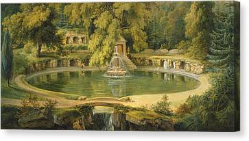Pool In Cave Canvas Print - Temple Fountain And Cave In Sezincote Park by Thomas Daniell