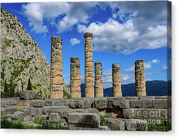 Temple Of Apollo At Delphi, Greece Canvas Print by Global Light Photography - Nicole Leffer