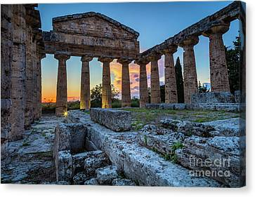 Temple Of Athena By Night Canvas Print by Inge Johnsson