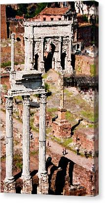 Temple Of Castor And Pollux - Rome Forum - Painting Canvas Print by Weston Westmoreland