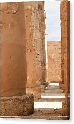 Canvas Print featuring the photograph Temple Of Karnak by Silvia Bruno
