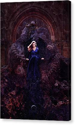 Winged Female Canvas Print - Temple Of Lilith by Cambion Art