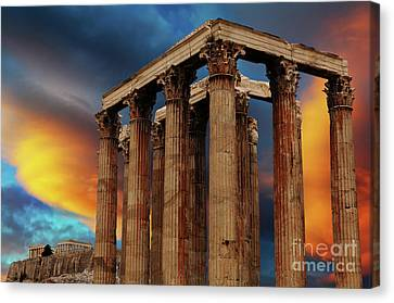 Temple Of Olympian Zeus Canvas Print by Bob Christopher