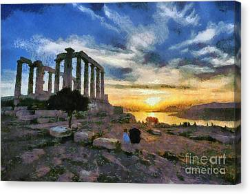 Temple Of Poseidon, In Sounio, During Sunset Canvas Print by George Atsametakis