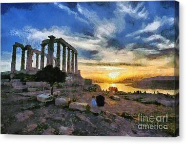 Sundown Canvas Print - Temple Of Poseidon, In Sounio, During Sunset by George Atsametakis