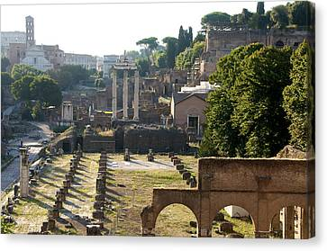 Temple Of Vesta. Arch Of Titus. Temple Of Castor And Pollux. Forum Romanum. Roman Forum. Rome Canvas Print by Bernard Jaubert