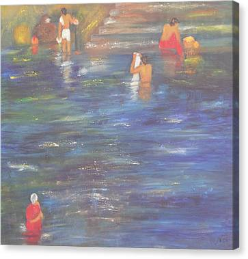 Temple Pond Canvas Print by Neena Alapatt
