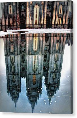 Temple Reflection Canvas Print by Jim Hill