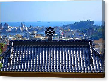 Temple Roof And Kaohsiung Port Canvas Print by Yali Shi