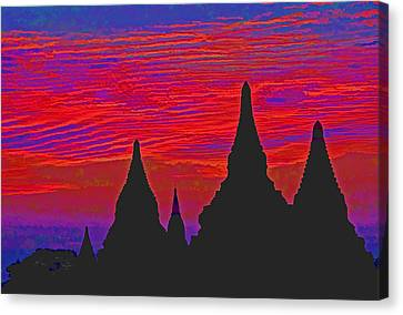 Temple Silhouettes Canvas Print by Dennis Cox