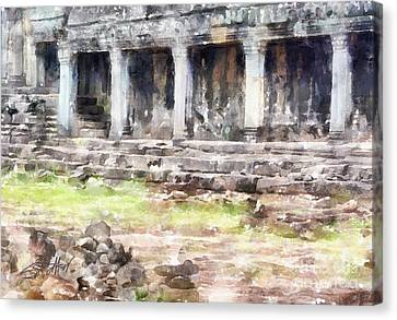 Temples At Angkor Canvas Print by Shirley Stalter