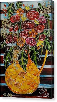 Ten Roses On A Bench Canvas Print by Cornelia Tersanszki