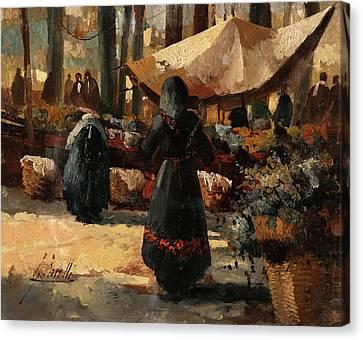 Tende Al Mercato Canvas Print by Guido Borelli