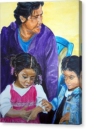 Tender Moment Of Compassion Canvas Print by Sarah Hornsby