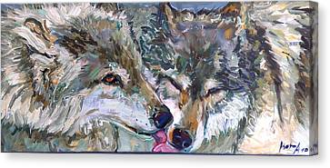Canvas Print featuring the painting Tender Moments by Koro Arandia