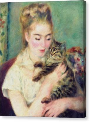 Tenderness Of A Woman Canvas Print by Georgiana Romanovna