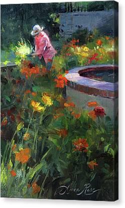 Tending The Dahlias Canvas Print by Anna Rose Bain