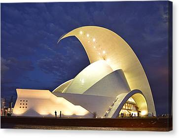 Canvas Print featuring the photograph Tenerife Auditorium At Night by Marek Stepan