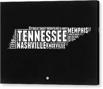 Tennessee Black And White Word Cloud  Map Canvas Print by Naxart Studio